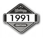 VIntage Edition 1991 Classic Retro Cafe Racer Design External Vinyl Car Motorcyle Sticker 85x70mm